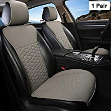 Black Panther 1 Pair Luxury PU Leather Front Car Seat Covers Breathable and Non-Slip Auto Seat Protectors for 95% Car Seats (Grey)