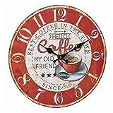 TFA Dostmann 60.3045.12 - Reloj de Pared analógico, diseño de café, números Grandes, fácil de Leer, Color Rojo