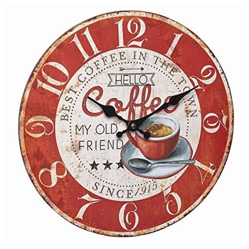 TFA Dostmann 60.3045.12 - Orologio da parete analogico vintage, con numeri grandi, ben leggibile, colore: Rosso