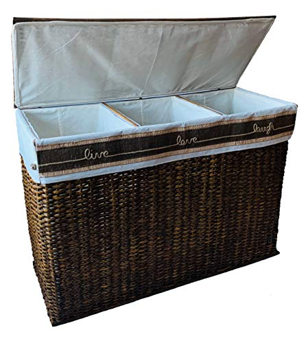 GUTZ Handcrafted Wicker Oversized 3 Section Divided Laundry Hamper Sorter and Organizer Handwoven Rattan Basket with Lid, Cloth Liner and Coconut Buttons, Jute Rope, and Raffia Weave Accent