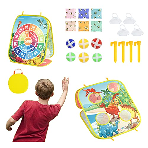 BAWASEEHI Bean Bag Toss Game for Kids - Double Sided Cornhole Board Dinosaur Themed 4 Corn Holes - Portable Bag for Easy Carrying