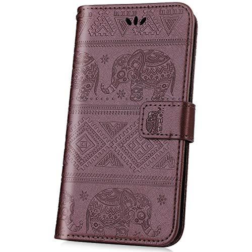 kompatibel mit Nokia 2.1 2018 Hülle,JAWSEU Lederhülle für Nokia 2.1 2018 Tasche Leder Flip Hülle Brieftasche Schutzhülle Elefant Flip hülle Bookstyle Kunstleder Handy Tasche,Braun