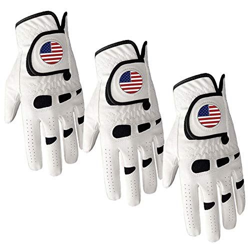 Golf Gloves Men Left Hand with Ball Marker USA Flag Weathersof 3 Pack Premium Leather All Weather Grip Soft Mens Glove Size Small Medium ML Large XL (3 Pack Medium-Worn on Left Hand)