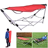 CASART. Foldable Hammock with Sturdy Steel Folding Stand & Carry Case, Travel Swing Chair Bed for Indoor &...