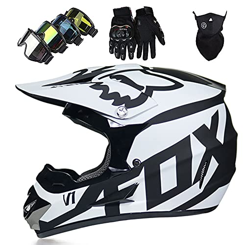 Casco Moto Niño ECE Dot Homologado Casco Motocross Infantil y Adulto (con Guantes Gafas Máscara) Carcasa ABS Casco Enduro Integral MTB con Fox Diseño, para Motocicleta Off Road BMX Quad, Blanc