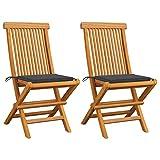 Festnight Gartenstühle Klappbaren Holzstühle mit Anthrazit Kissen 2 STK klappstühle Garten-Essstühle Gartenstuhl Klappsessel Gartenmöbel Massivholz Teak