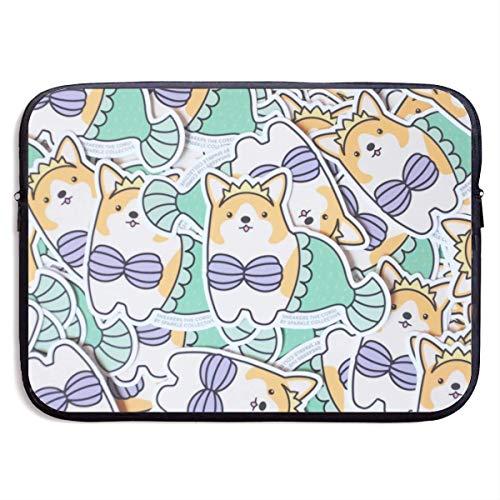 Waterafstotende Laptop Sleeve Case Compatibel met Ultrabook/Notebook/Tablet, Ultraportable gemakkelijk draagtassen voor vergadering Business Work Study, Grappige Bikini Corgi hond zeemeermin, 15 Inch