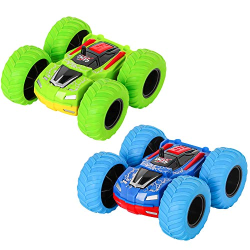 m zimoon Klein Auto, Monster Truck Spielzeugauto Zwei-Wege-Reibungsfahrzeug Trägheits Auto 360 Dreh-Flip Push-and-Go-Fahrzeug Geeignet für 3-7 Jungen und Mädchen Geburtstagsgeschenke