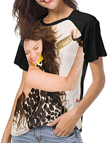 Miley Cyrus Sexy Sports Womans Baseball Raglan Short Sleeves T Shirts - Size£º,Black,X-L