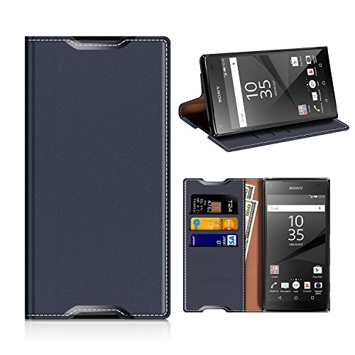 MOBESV Sony Xperia Z5 Hülle Leder, Sony Xperia Z5 Tasche Lederhülle/Wallet Hülle/Ledertasche Handyhülle/Schutzhülle mit Kartenfach für Sony Xperia Z5 - Dunkel Blau