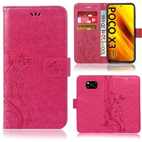 numerva Funda compatible con Xiaomi Poco X3 NFC Funda para Teléfono Móvil Funda con Tarjetero Flores Rosa