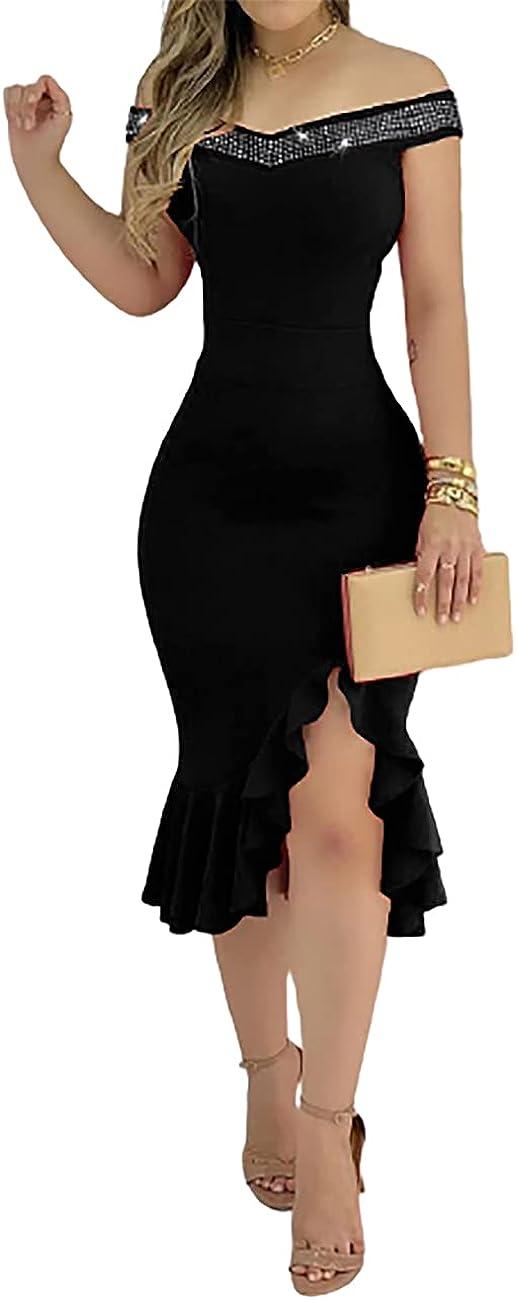 MISOMEE Women's Off Shoulder Elegant Ruffle Hem Slit Formal Party Dress Evening Gown
