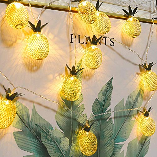 LED Lichterkette Ananas, Metall Ananas String Lichterketten (Batteriebetriebene) Dekoration für Garten, Weihnachten, Party, Hochzeit, Innen und Draussen (Warmweiss, 2M, 20LED)