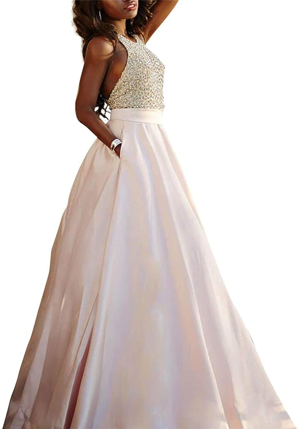 Changjie Women's 2016 Halter Backless Formal Evening Dresses Beading Prom Gown