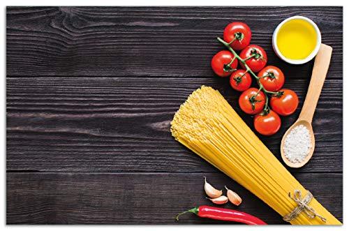 Wallario Herdabdeckplatte/Spritzschutz aus Glas, 1-teilig, 80x52cm, für Ceran- und Induktionsherde, Motiv Italienisches Menü mit Spaghetti, Tomaten, Salz und Chilischoten