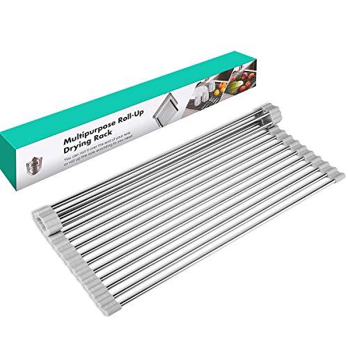 Deemen Roll Up - Estante para secar platos sobre el fregadero de la cocina, estante enrollable, estante de secado portátil de acero inoxidable (gris, grande 17.64 x 12.13 pulgadas)