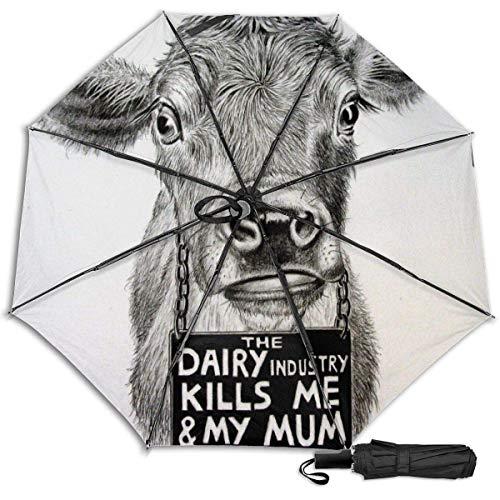 No es su mamá, no es su lechefunny Manual vinilo triple paraguas protector solar protección UV paraguas a prueba de viento paraguas de viaje