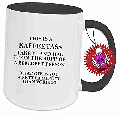 Tasse Schwarz voll mit Spruch : This is a Kaffeetass. Becher Tasse Tee, Keramik