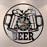 UIOLK Barra de Cerveza decoración de Pared Reloj Barra de Tiempo para Beber Disco de Vinilo Reloj de Pared Mesa de Pared decoración del Club de Cerveza