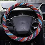 Copap 15 inch Steering Wheel Cover Baja Blanket Vintage Woven Cloth Fit Most Auto Cars Coarse Flax Cloth