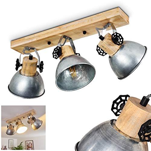 Deckenleuchte Orny, Deckenlampe aus Metall/Holz in Zink/Braun, 3-flammig, mit verstellbaren Strahlern, 3 x E27-Fassung max. 60 Watt, Spot im Retro/Vintage Design, LED Leuchtmittel geeignet