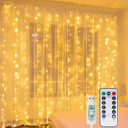 Hepside Curtain Fairy Lights, 3m x 3m 300 LED Waterfall Fairy Lights USB 8 Modes LED Curtain Lights, Remote Control Timer Window Curtain String Lights for Indoor Xmas Party Home Garden Decoration