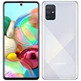 Samsung Galaxy A71 (128GB, 6GB) 6.7', 64MP Quad Camera, 25W Fast Charger, Android 10, GSM Unlocked US + Global 4G LTE International Model A715F/DS (128GB + 64GB SD + Case Bundle, Prism Crush Silver)