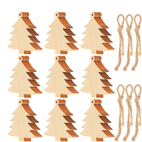 Tatuo 100 Pieces Wooden Christmas Tree Cutouts Embellishments Hanging Ornaments with Ropes for Christmas Decoration, Festival, Wedding, Craft
