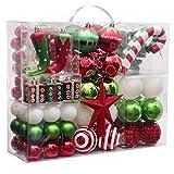 Victor's Workshop 100Pcs Bolas de Navidad, Adornos de Navidad para Arbol Tema Elfo Setl, Decoración de Bolas Navideños Plástico de Rojo Blanco Verde, Regalos de Colgantes de Navidad (Deleitoso)