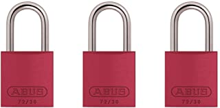"ABUS 09124 KA X 3 Red 72/30 Aluminum Safety Padlock Keyed Alike, Body width: 1 1/4"" Shackle diameter: 11/64"" Shackle clearance: 1 3/64"", 3 Piece"
