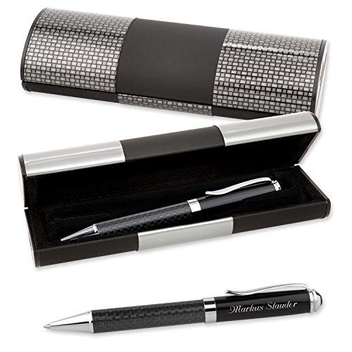 LOGIC-Etui mit Kugelschreiber CARBON und edler Wunsch-Gravur