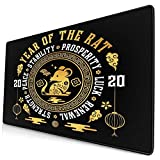 Chinese New Year 2020 - Year of The Rat Zodiac Gift Tapestry Large Video Game Office Game Learning School Gift Computer Lock Edge Table Mat Competitive Mouse Pad.