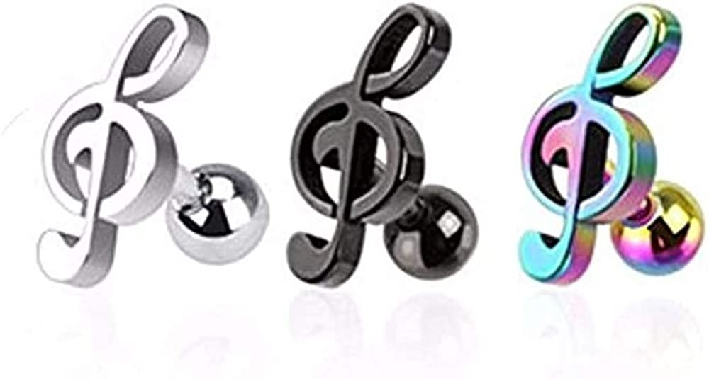 3 Pcs Value Pack of Assorted 316L Music Note Cartilage