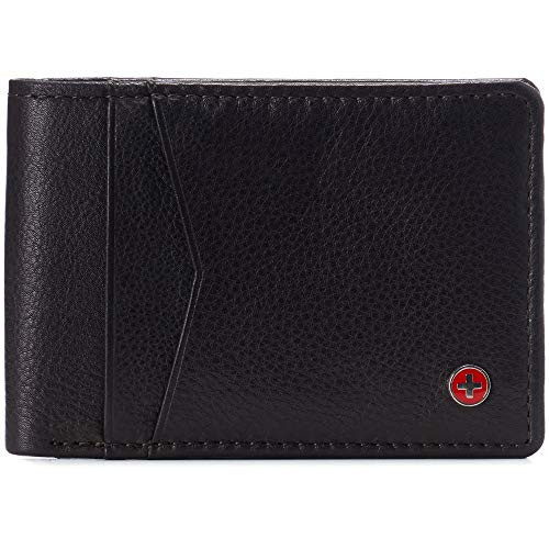 Alpine Swiss Delaney Men's Slimfold RFID Protected Wallet Nappa Leather Comes in a Gift Box Brown