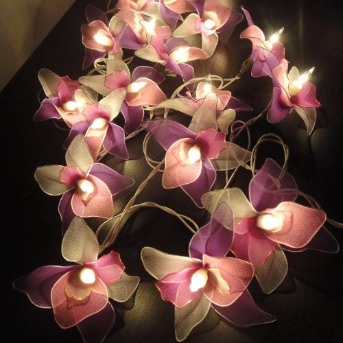 Windhorse Pink-White-Purple Orchid Flower Fairy String Lights Ideal Wedding, Christmas & Party String Lights 20 Lanterns