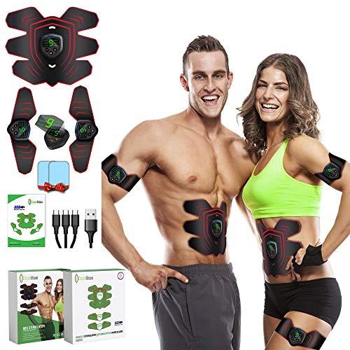 GreenMoon Electrostimulateur Musculaire | Ceinture de Massage | Stimulateur Abdominal EMS | Appareil de Stimulation Femmes & Hommes pour Abdos, Bras, Jambes, Dos, Fesses…