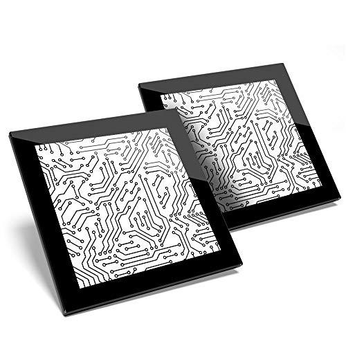 Impresionante juego de 2 posavasos de cristal – Placa de circuito eléctrico...