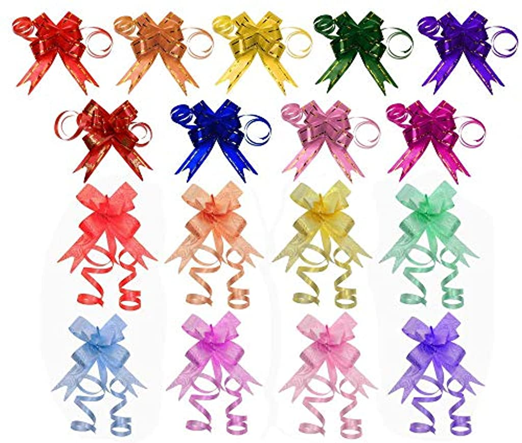 Penta Angel 170Pcs 17 Colors String Bows Basket Gift Pull Bows Gift Knot Ribbon Present Wrapping Décor Bows for Birthday Wedding Christmas New Year Party Ornament, 1.8cm (17-Colors)
