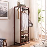 Tiny Times 67'' Tall Free Standing Closet Wardrobe Bedroom Armoires with Full Length Dressing Floor Mirror,Brake Wheels,Hanger Rod,Coat Hooks,Entryway Storage Shelves Organizer-Solid Pine Wood,Brown