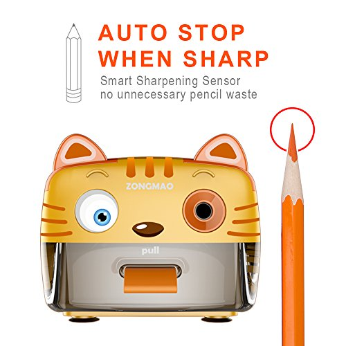 Electric Pencil Sharpener-Heavy Duty Helical Blade-Auto Stop Features For Kids, Students and Artists, Ideal for Home, School and Ofiice use, Cute, Yellow (Yellow) Photo #5