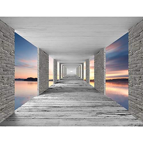 Fototapete 3D Meer Sonnenuntergang 352 x 250 cm Vlies Tapeten Wandtapete XXL Moderne Wanddeko Wohnzimmer Schlafzimmer Büro Flur Grau Blau Orange 9157011b