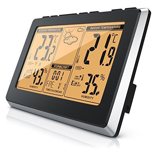 CSL - Funk Wetterstation mit Außensensor - 7,5 Display - Funkuhr DCF-Signal - Datumsanzeige - Alarm-Funktion - Innen- und Außentemperatur - Temperaturanzeige - Temperaturalarm UVM