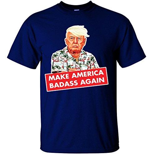 Adult Men's Donald Trump Make America Badass Again Funny Novelty T Shirt (Navy, XX-Large)