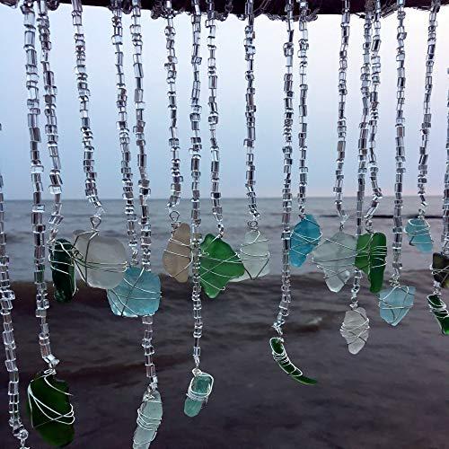 Glitz Sun Catcher Boho Wedding Beach Glass Art Driftwood Mobile Sea Glass Mobile Eco Friendly Art Lake Erie Ohio