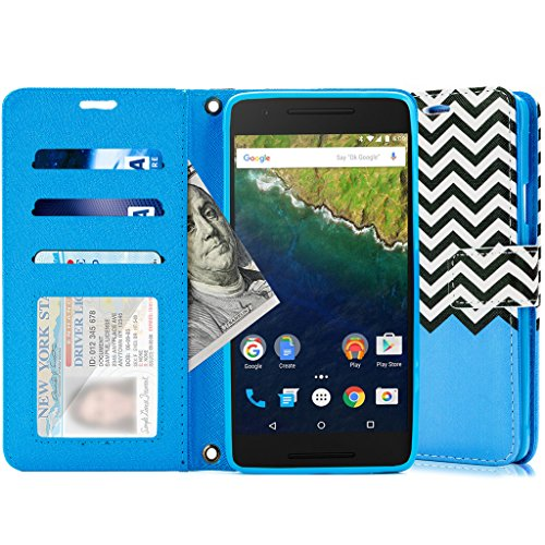 Google Nexus 6P Case, Cellularvilla drop protection, Pu leather wallet card slot holder wristlet, slim fit armor hard protective flip cover for Huawei Google Nexus 6P Case (2015)- Zig Zag Blue