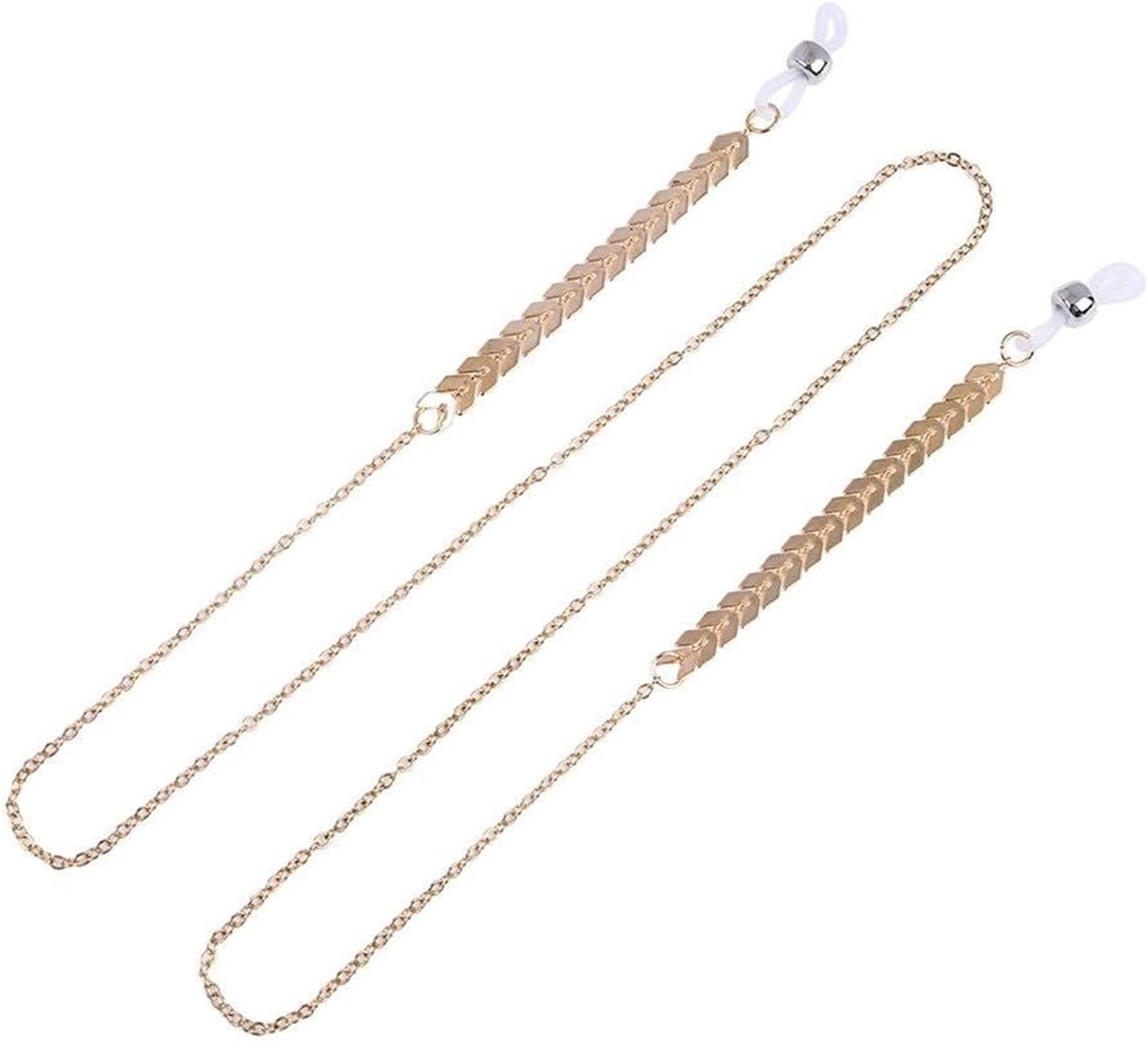 AMFG 5-Piece Metal Lady Leaf Shape Glasses Chain Silicone Anti-Drop Glasses Lanyard Chain