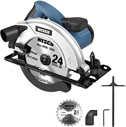 WESCO Sierra Circular 1400W Sierra Eléctrica 5800RPM Profundidad de Corte: 90 ° (65mm), 45 ° (45mm), Hoja de 185mm para Cortar Azulejo, Madera, Metal Blando y Plástico WS3441