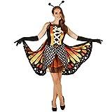 TecTake dressforfun Costume da Donna - Farfalla Licena Rosso Fuoco   Mini-Abito Sexy   Grandi Ali Colorate   incl. Lunghi Guanti Neri (L   No. 301147)