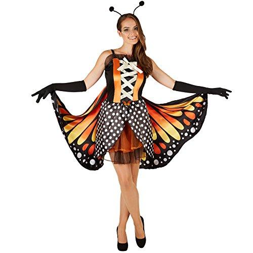 dressforfun Frauenkostüm Schmetterling großer Feuerfalter | Taillierte Korsageoptik | Kurzes, sexy Kleid | Inkl. Große bunte Flügel, schwarze Handschuhe und Haarreifen mit Fühlern (M | Nr. 301146)