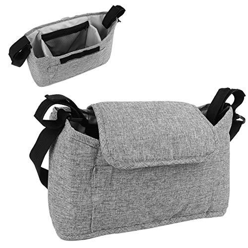 Organizador de cochecito de bebé, bolsa colgante para cochecito, materiales de alta calidad organizados(Linen gray bag (free shoulder strap))